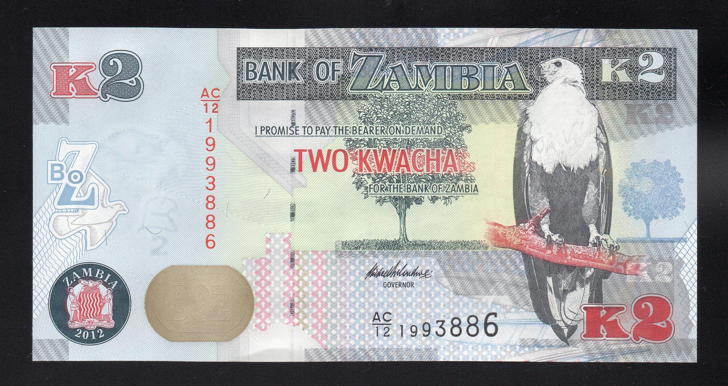 Zambia 2 KWACHA P-49a UNC 2012 seria AA/12
