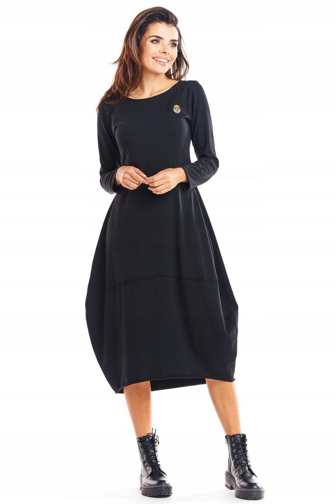 Bawełniana Sukienka Bombka MIDI Długi Rękaw L/XL