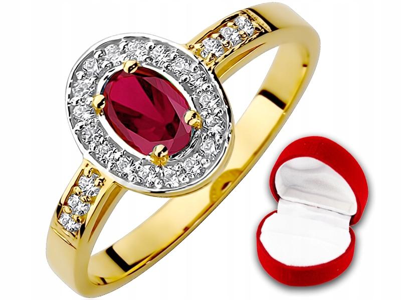 Okazja! Złoty pierścionek z Rubinem pr.585 r10