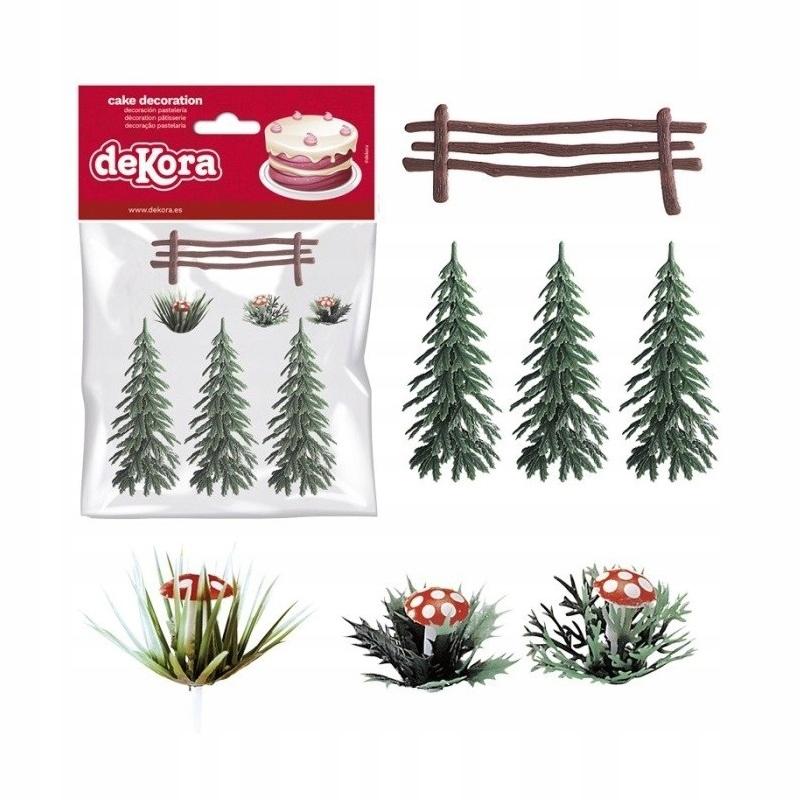 Zestaw na tort grzybki choinki-płotek-Dekora PVC 8929968496 - Allegro.pl