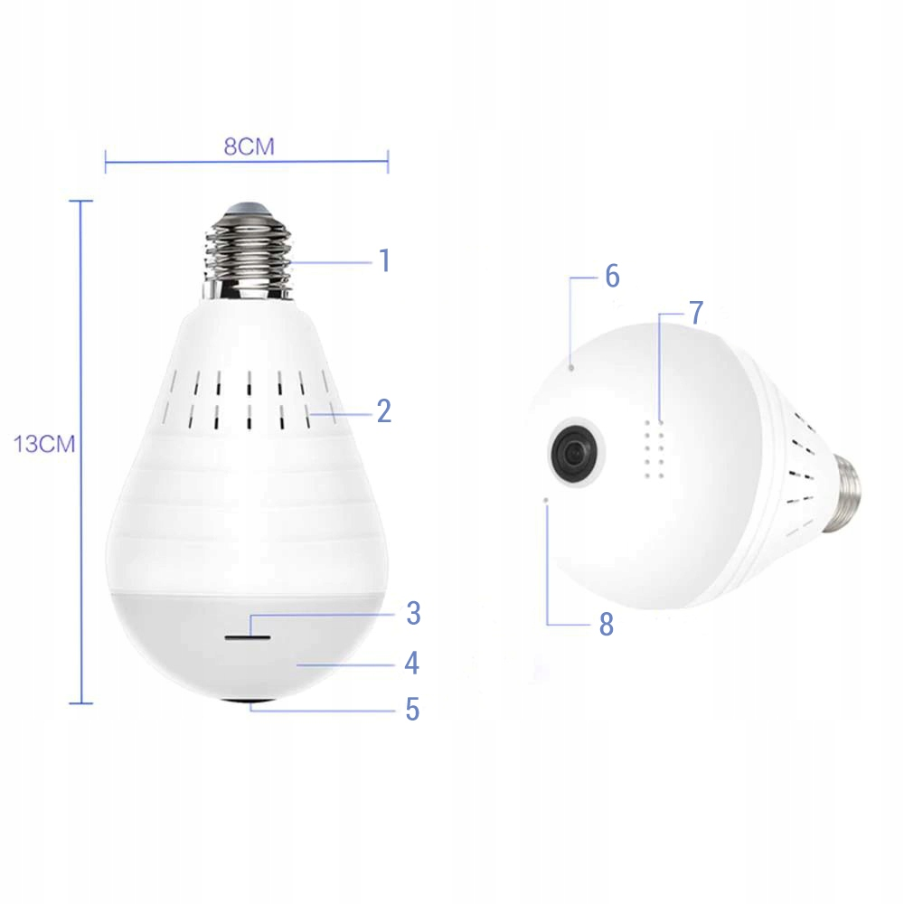 Kamera IP WiFi monitoring 360 w żarówce LED audio Zasięg podczerwieni 0 m