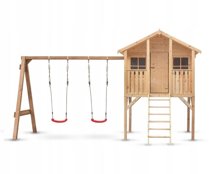Domek Drewniany Plac Zabaw Dla Dzieci z huśtawką