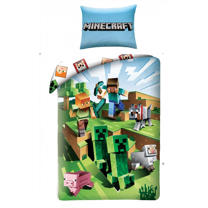 Постельное белье Minecraft Alex, Steve and Baby Pig 160x200