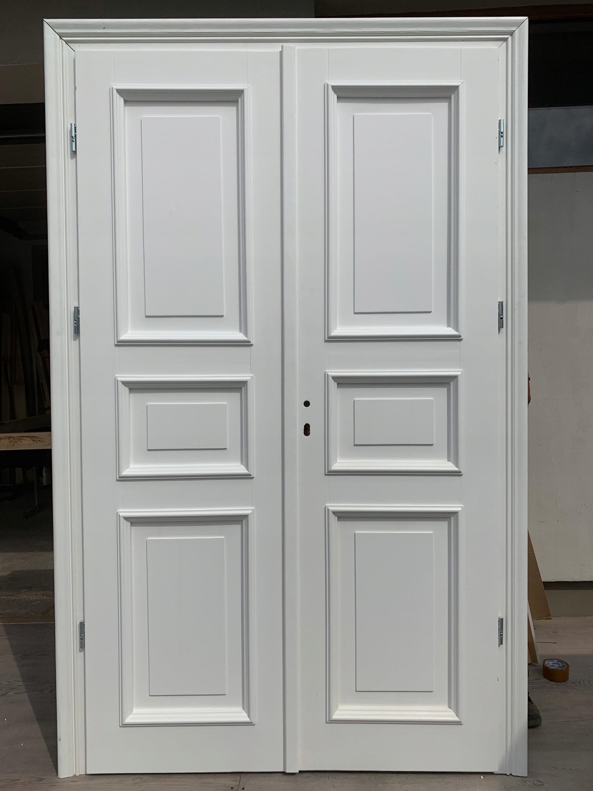 Dvere drevené dvojité biele RETRO strane