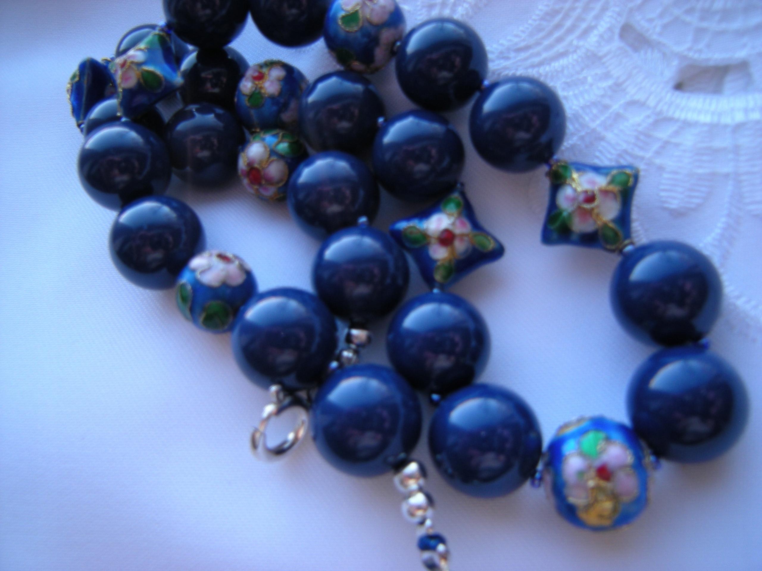 Coral, Námornícka modrá swarovski perly 14 mm +cloisonne