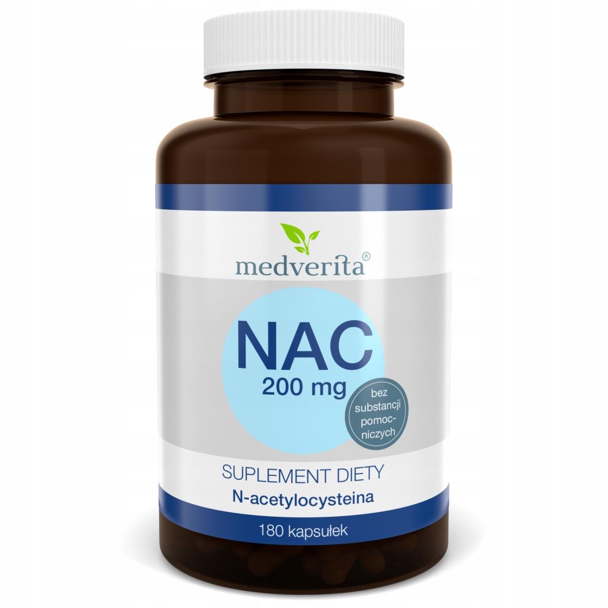 NAC 200 mg N-acetylo L-cysteina - 180 kapsułek