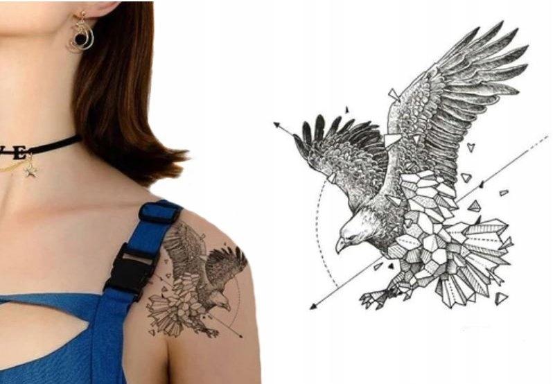Orzeł Tatuaż Trójkątny Geometryczny Strzałki M128