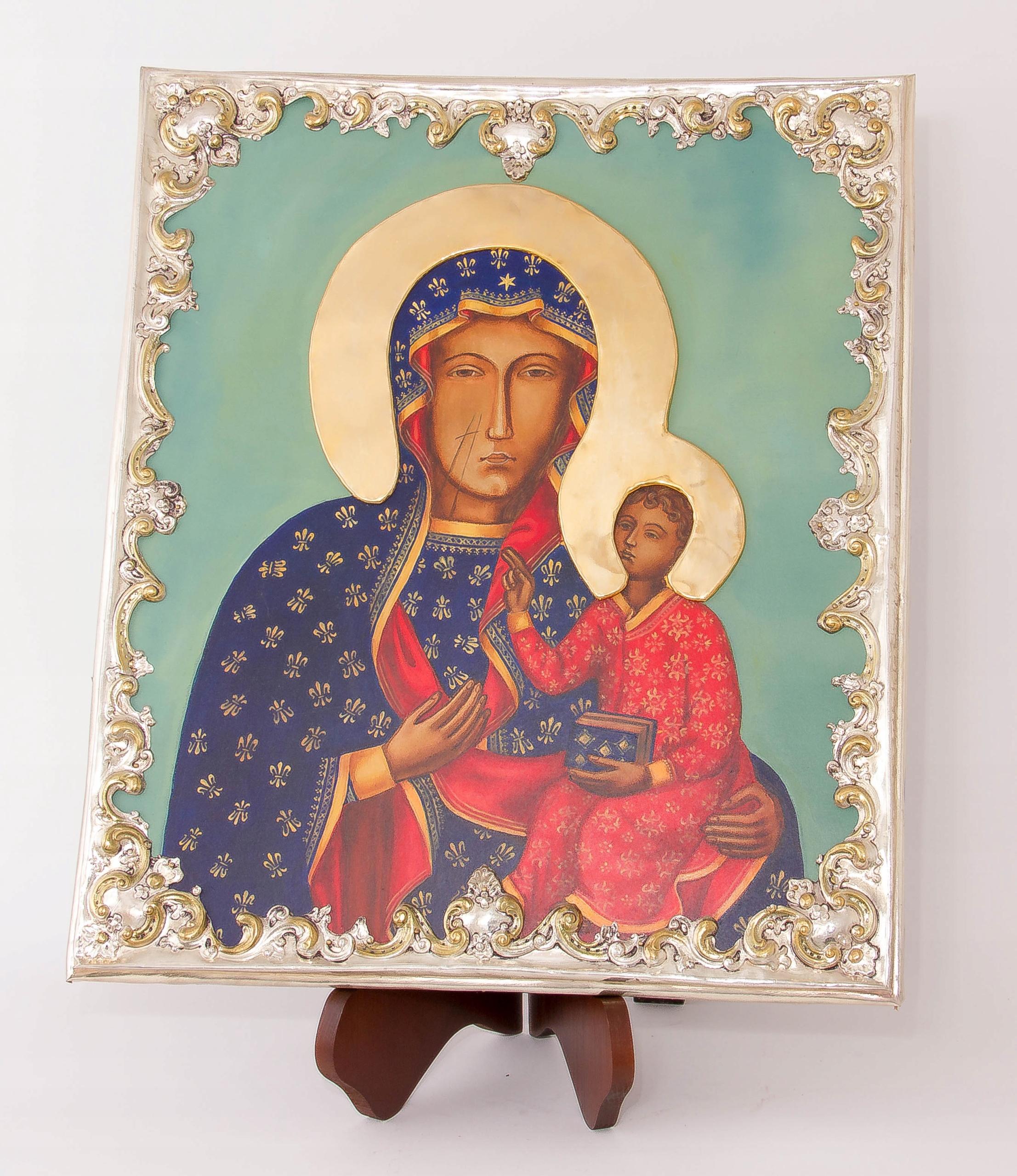 Ikona Matki Bożej Częstochowskiej MALOWANA Oryginalność Oryginalne
