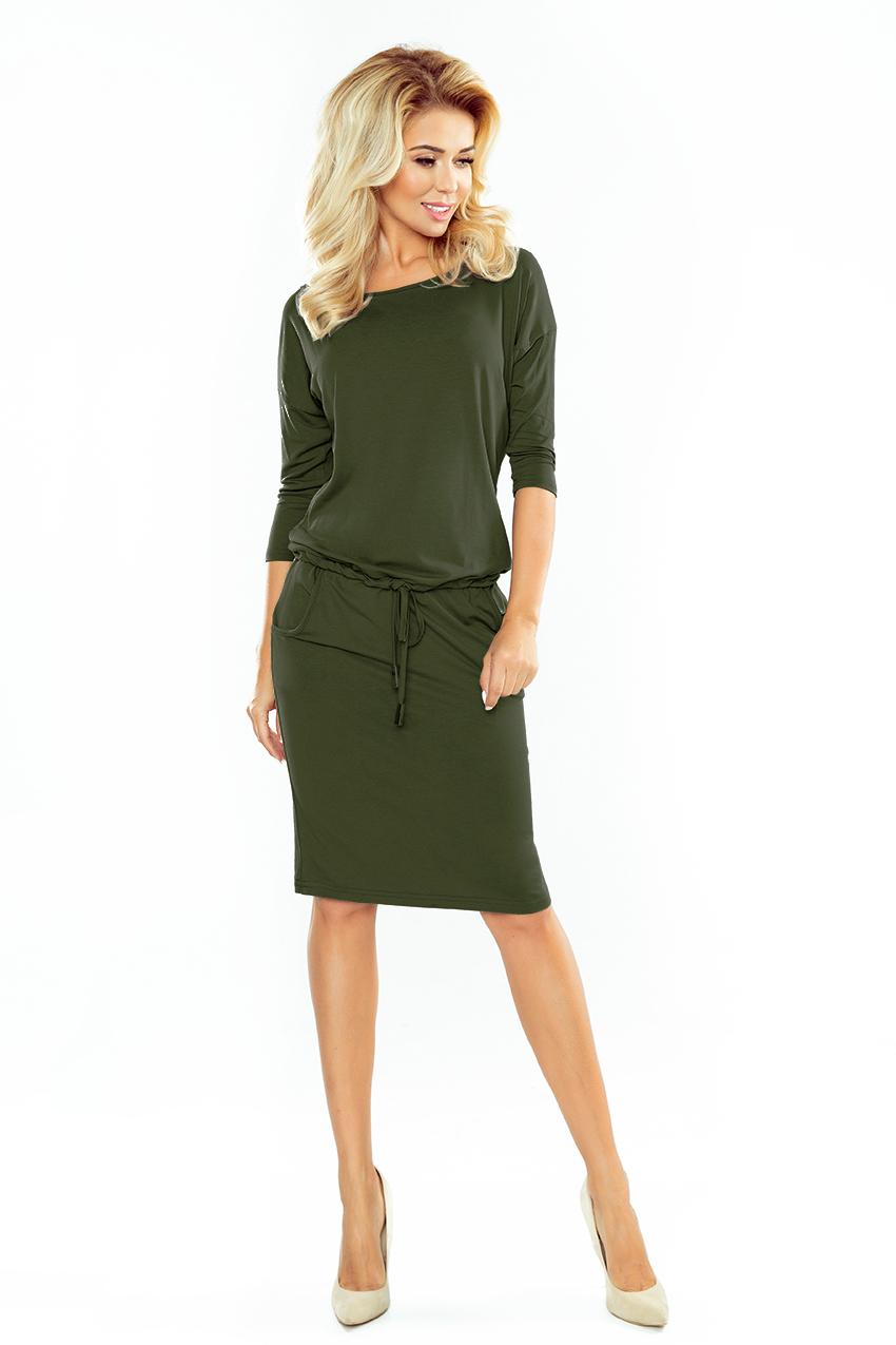 Sukienka dresowa wiązana z kieszeniami Khaki XL 42