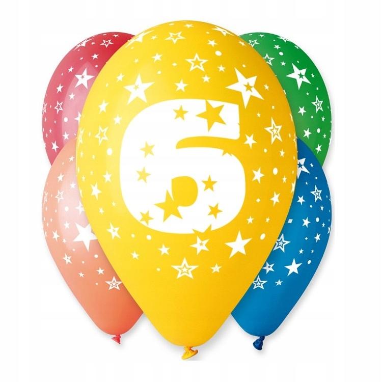 Balony Urodzinowe z Nadrukiem-Cyferka Nr 6- 5 szt.