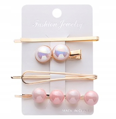 Item SET hair pin hair clip, beads, water roż
