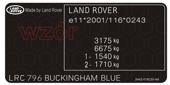 табличка  наклейка мощность land rover