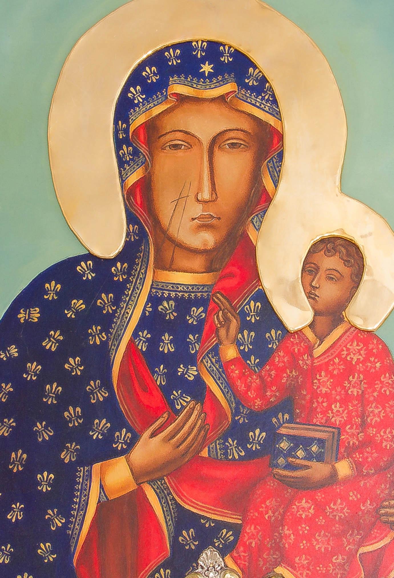 Ikona Matki Bożej Częstochowskiej MALOWANA Wysokość 53 cm