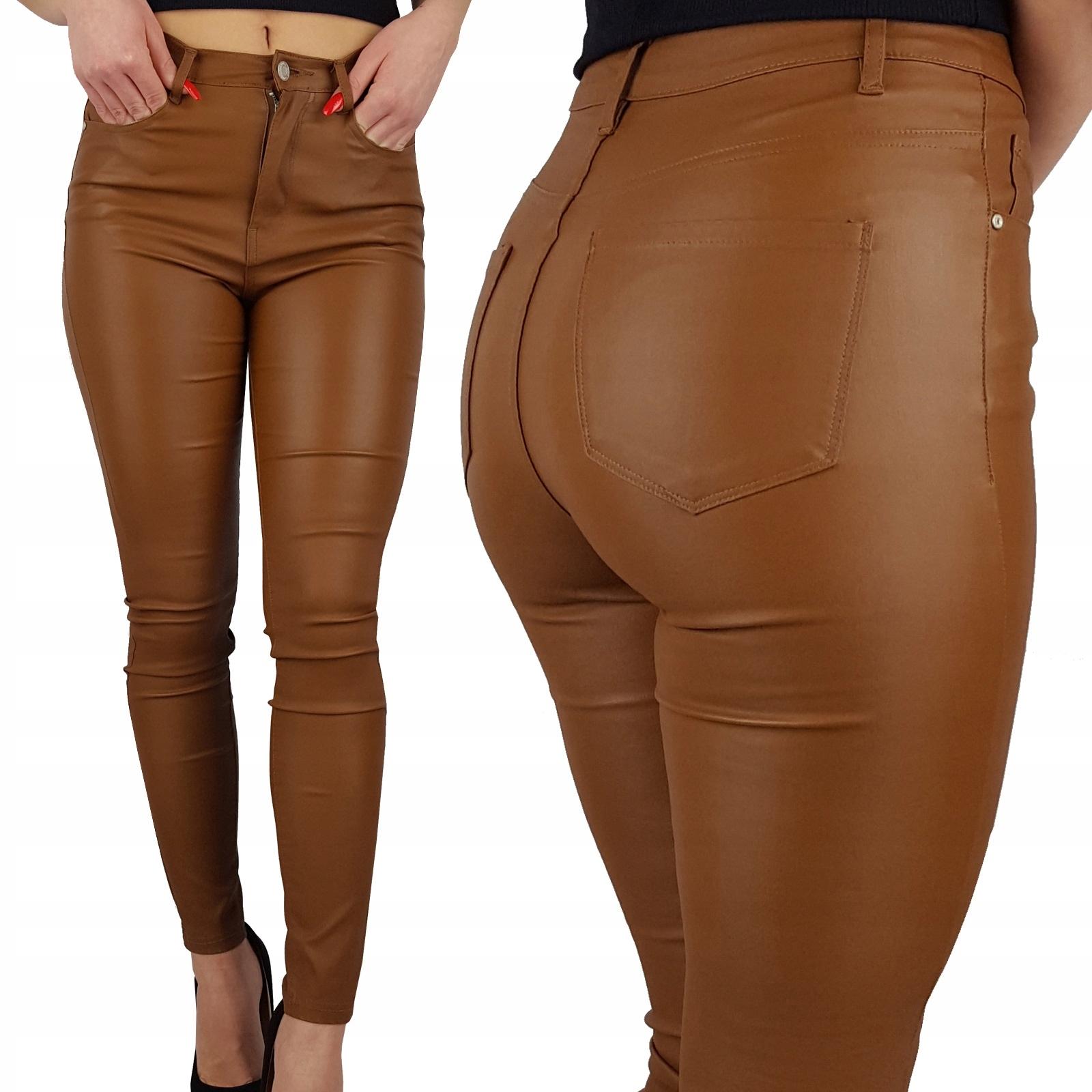 Damskie Spodnie Modelujące Woskowane Skóra Brązowe