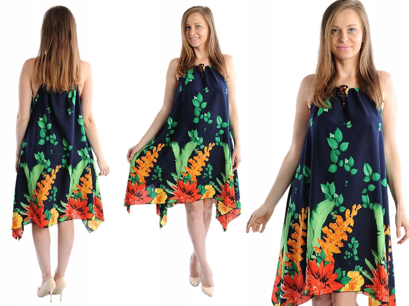 Zwiewna Sukienka Kwiaty Laemi 580 Granatowa 42 44