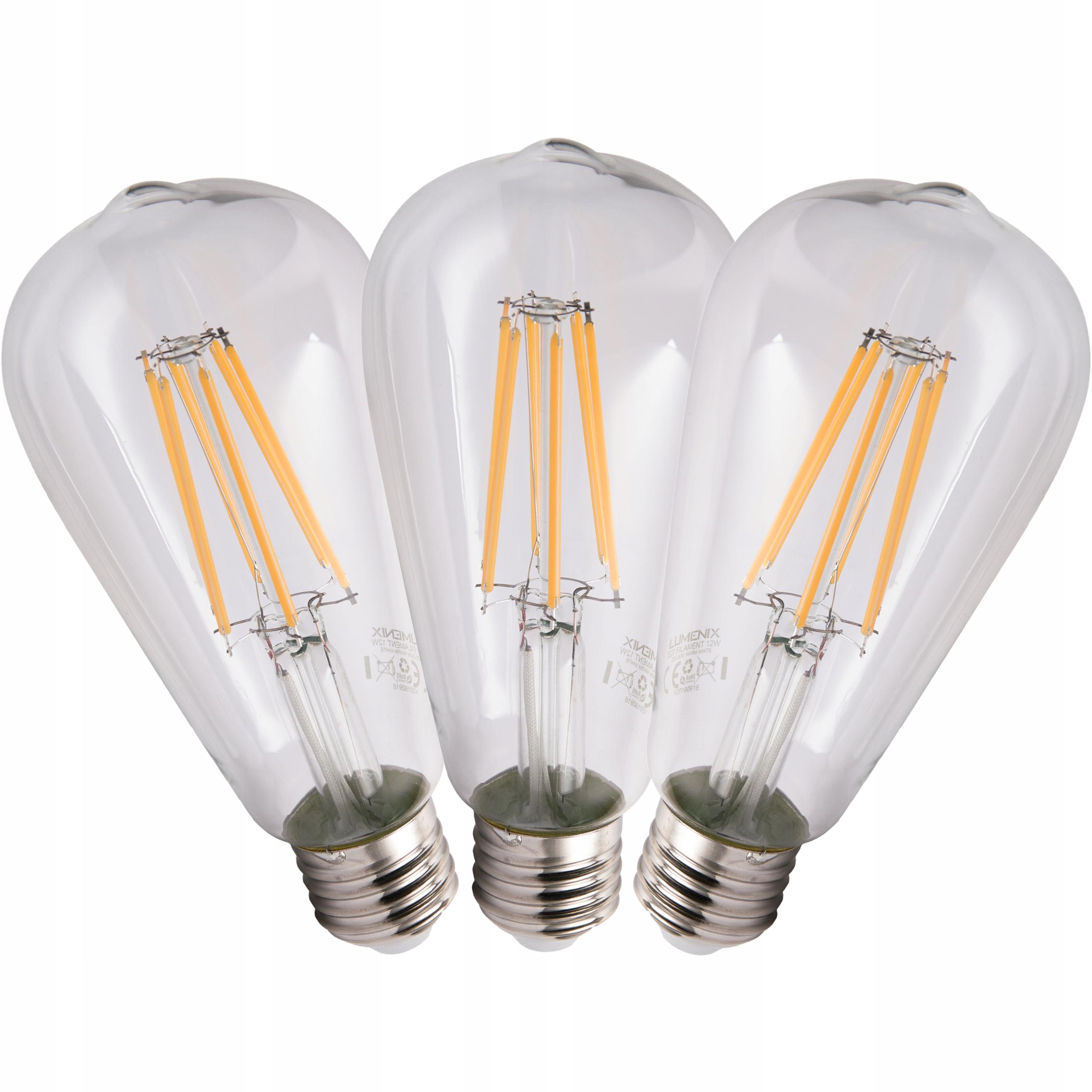 10x žiarovka E27 LED FILAMENT 12W TEPLÉ TEAROVÉ dekorácie