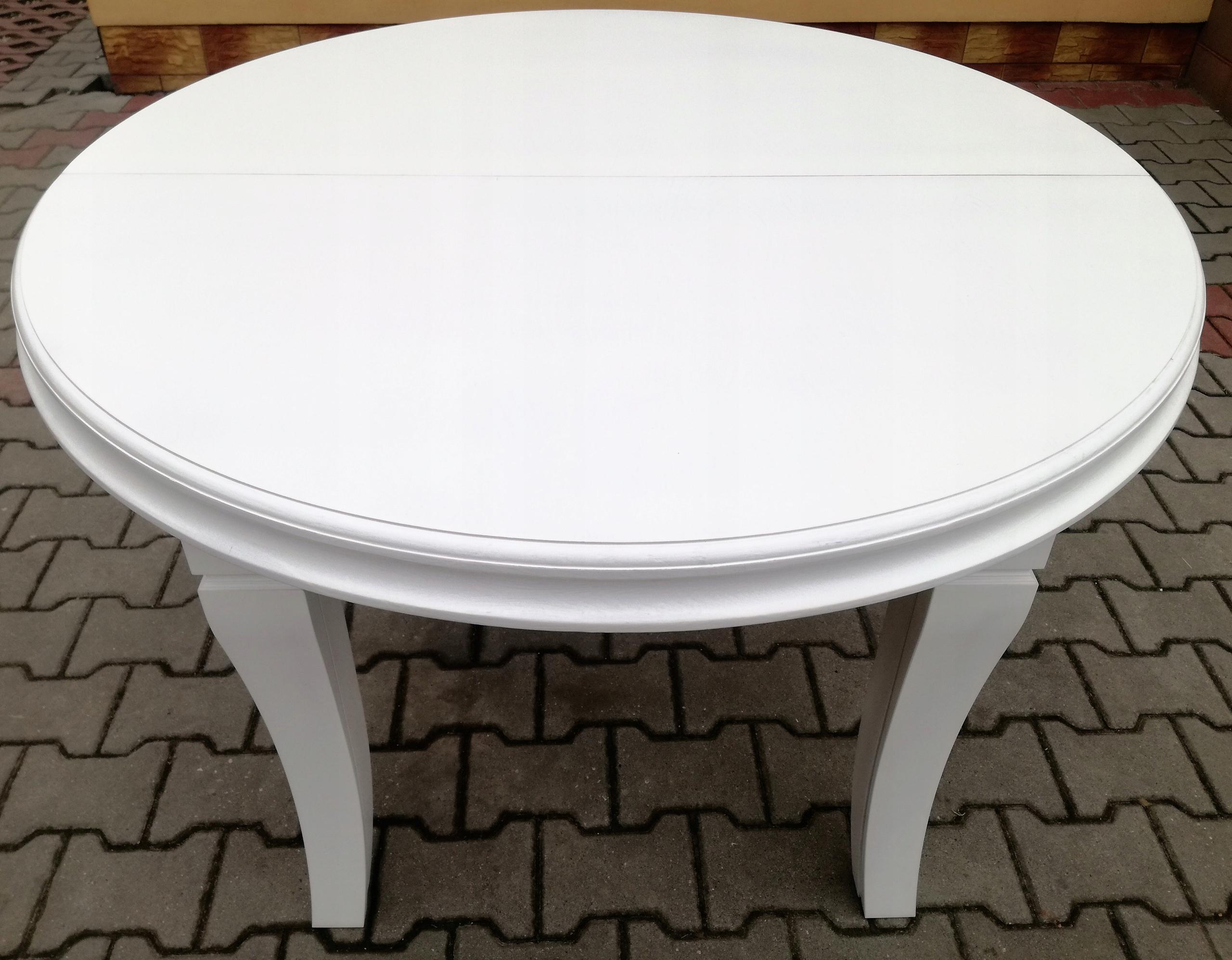 Okrúhly stôl, biely, 110 cm x 410 cm, 8 nožičiek