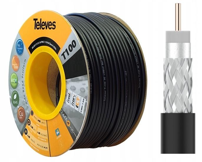 Anténny kábel RG6 televízory T100 CU 100m