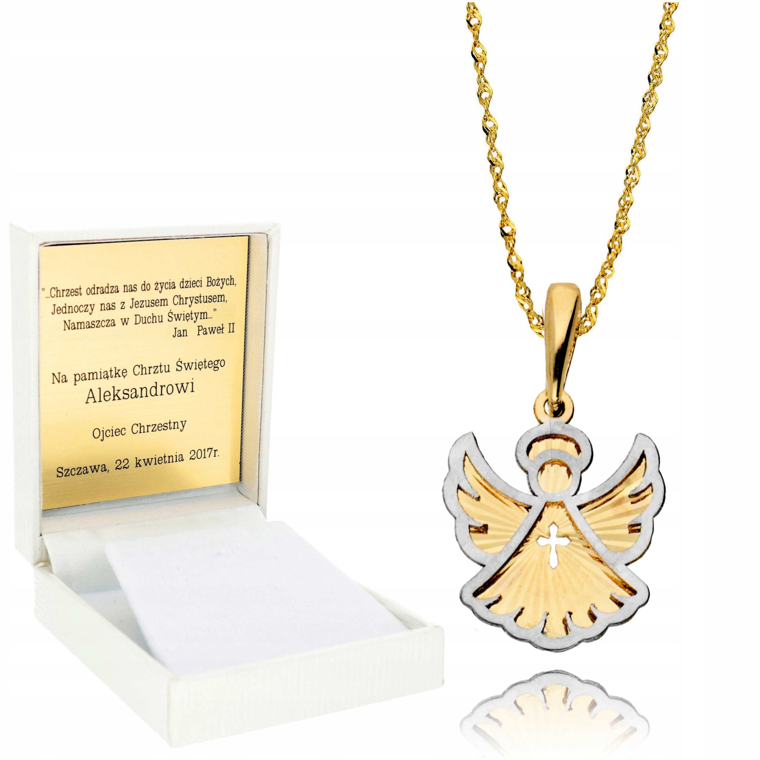 Item Chain 585 Gold Locket Angel Baptism Engraver