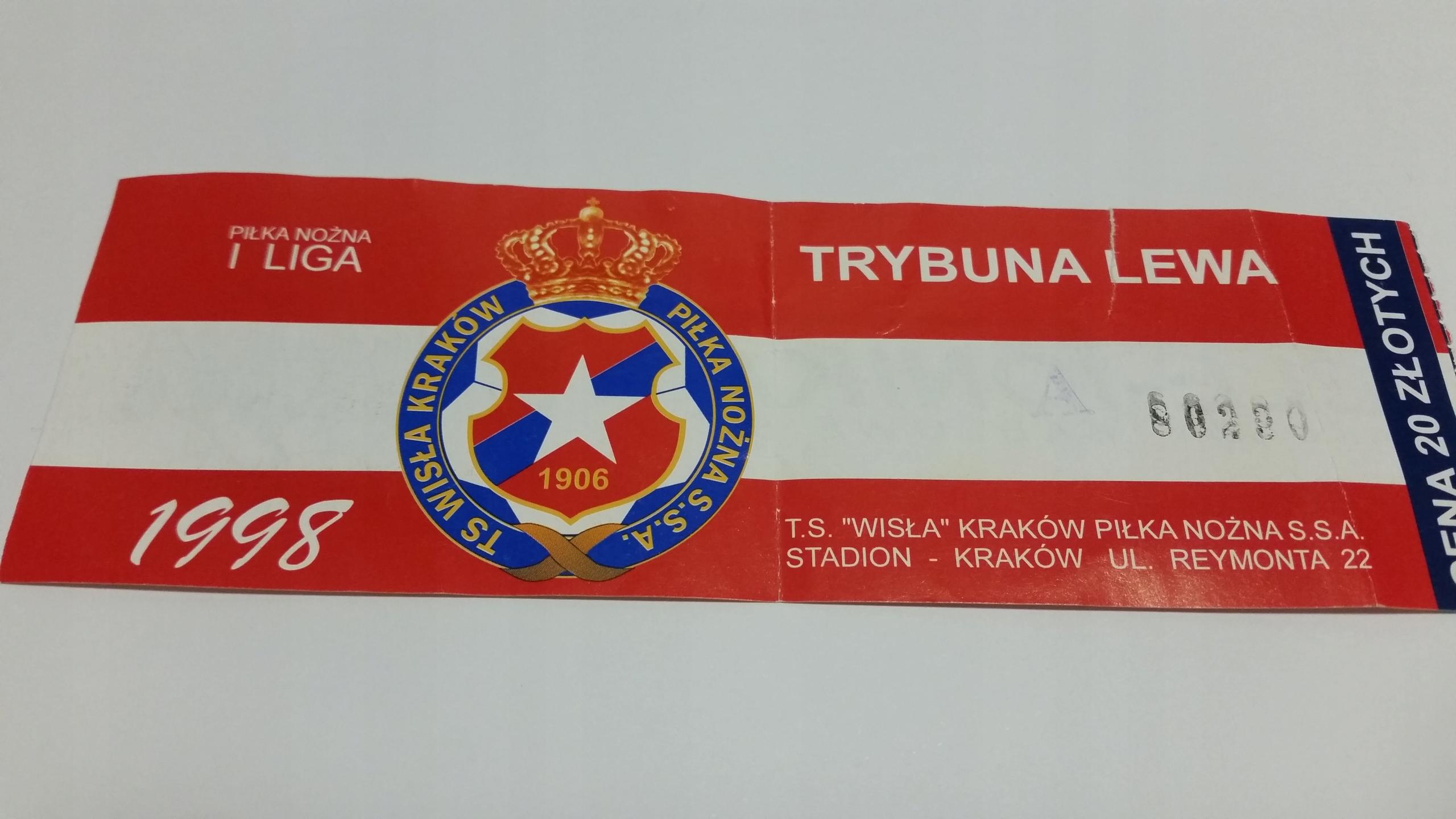 старший билет ВИСЛА Краков 1998 красный