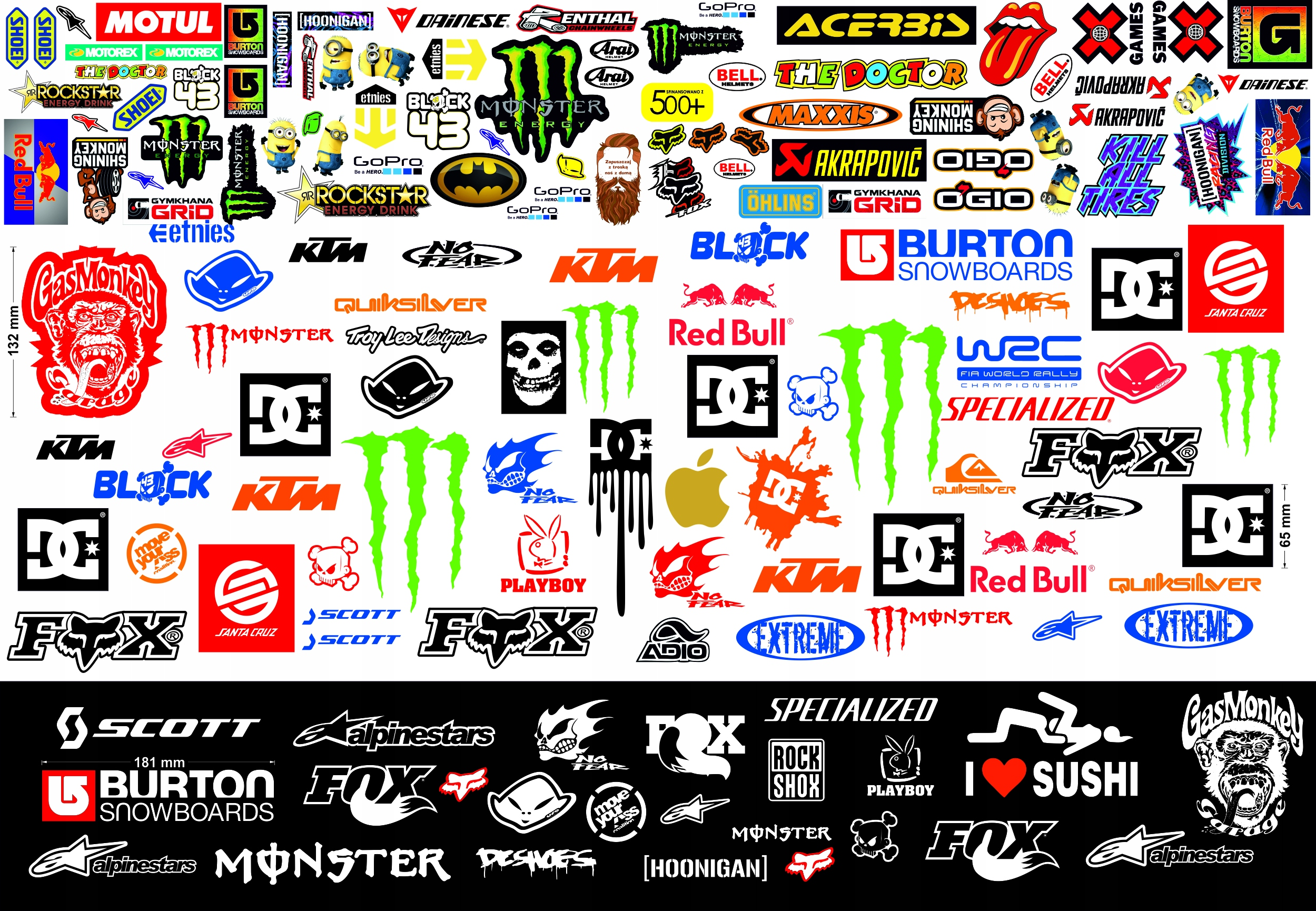 Item MEGA-SET OF STICKERS ON THE MOTORCYCLE WITH A BIG + FREEBIE