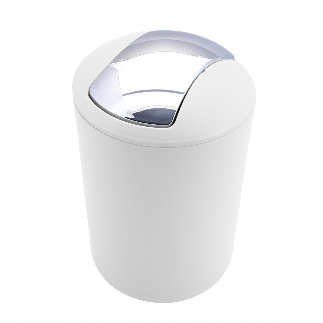 Odpadkový kôš / kúpeľňa 6l biela + chróm