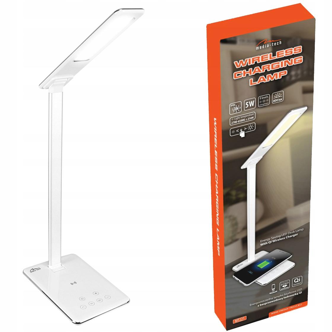 Lampa biurkowa LED z wbudowaną ładowarką QI 5V 1A