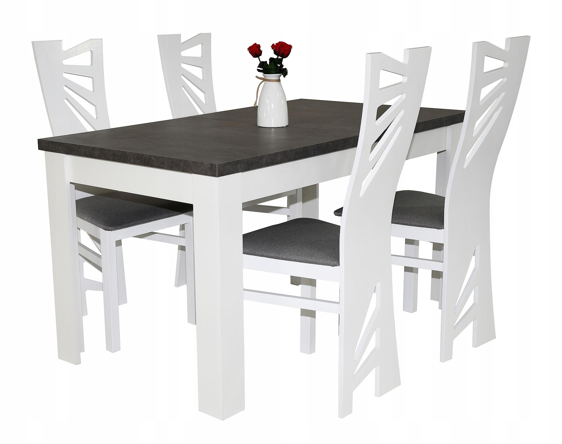stół do salonu, stół do jadalni 4szt krzeseł białe