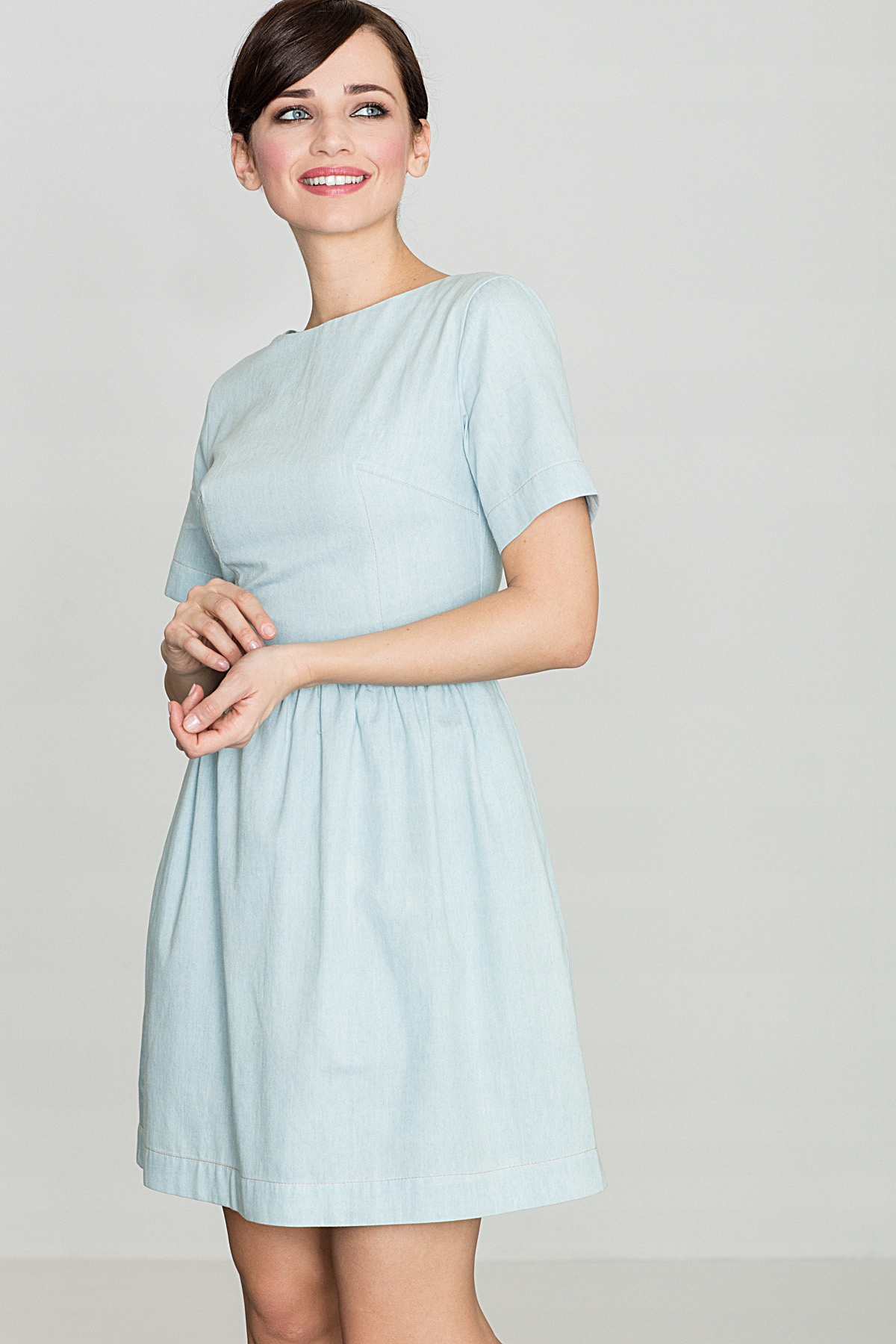 Bawełniana sukienka mini, Błękit, L, Wyprzedaż