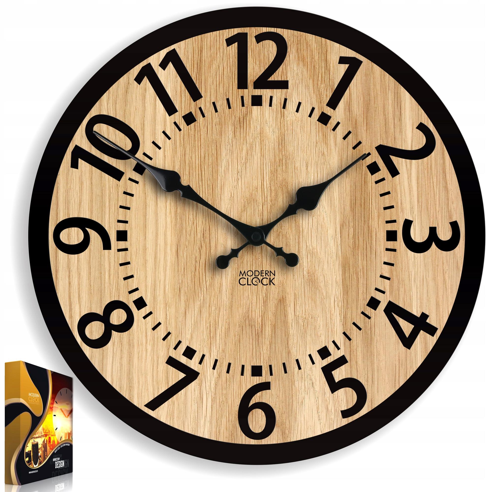 Часы настенные деревянные Дуб БЕРЛИН 33 см бесшумный