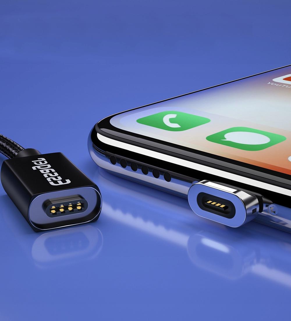 Kabel USB Magnetyczny 1m 3A 3w1 micro typ-C iphone Konstrukcja oplot magnetyczna końcówka