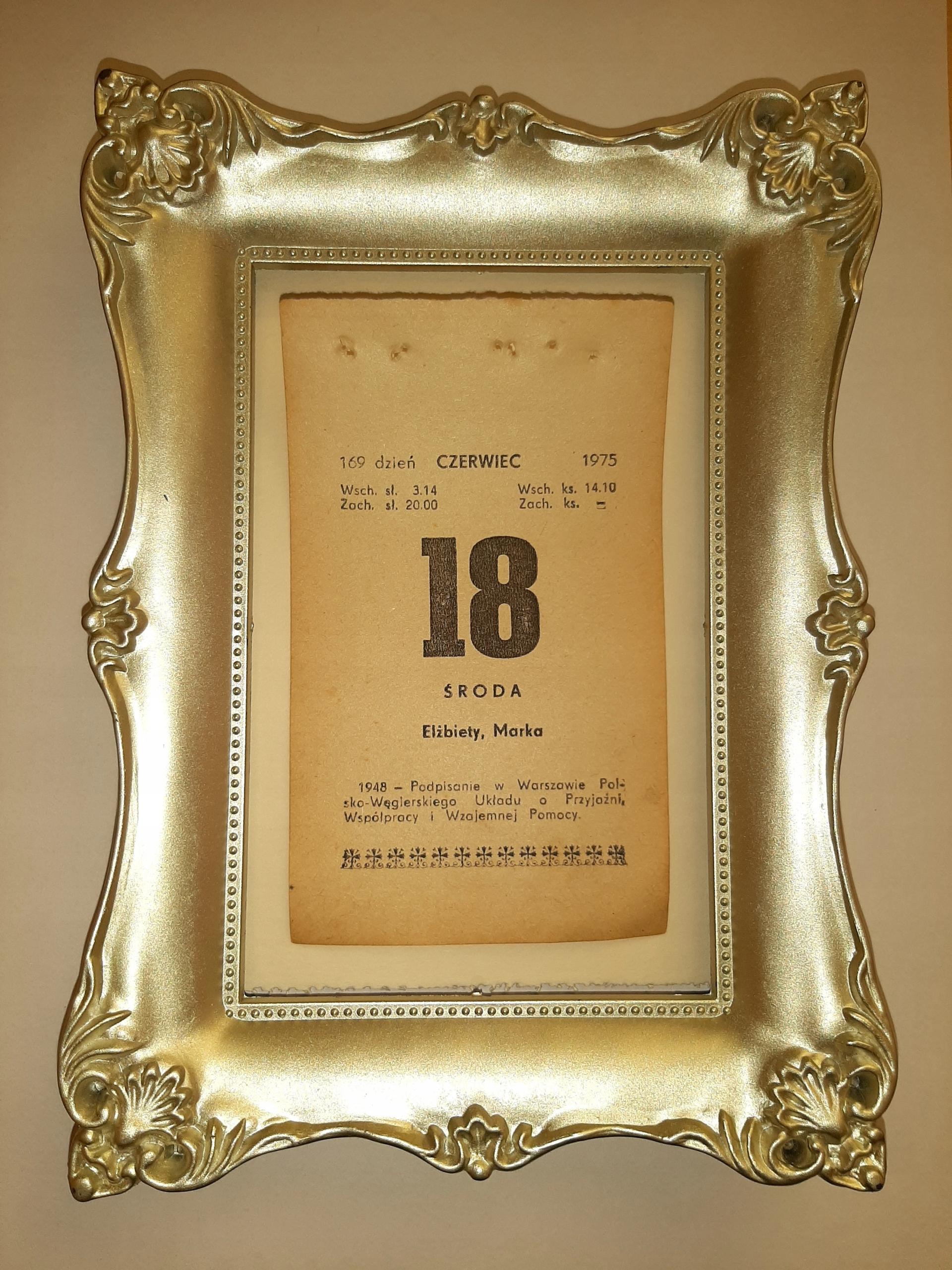 Oryginalna kartka z kalendarza 1975-1981 zdzierak