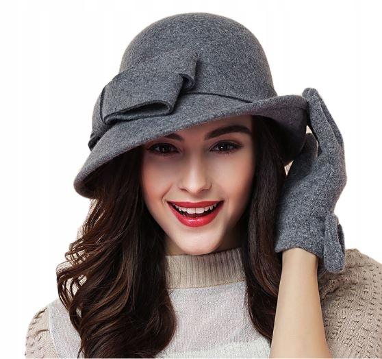 Vlna klobúk žien retro luk sivá
