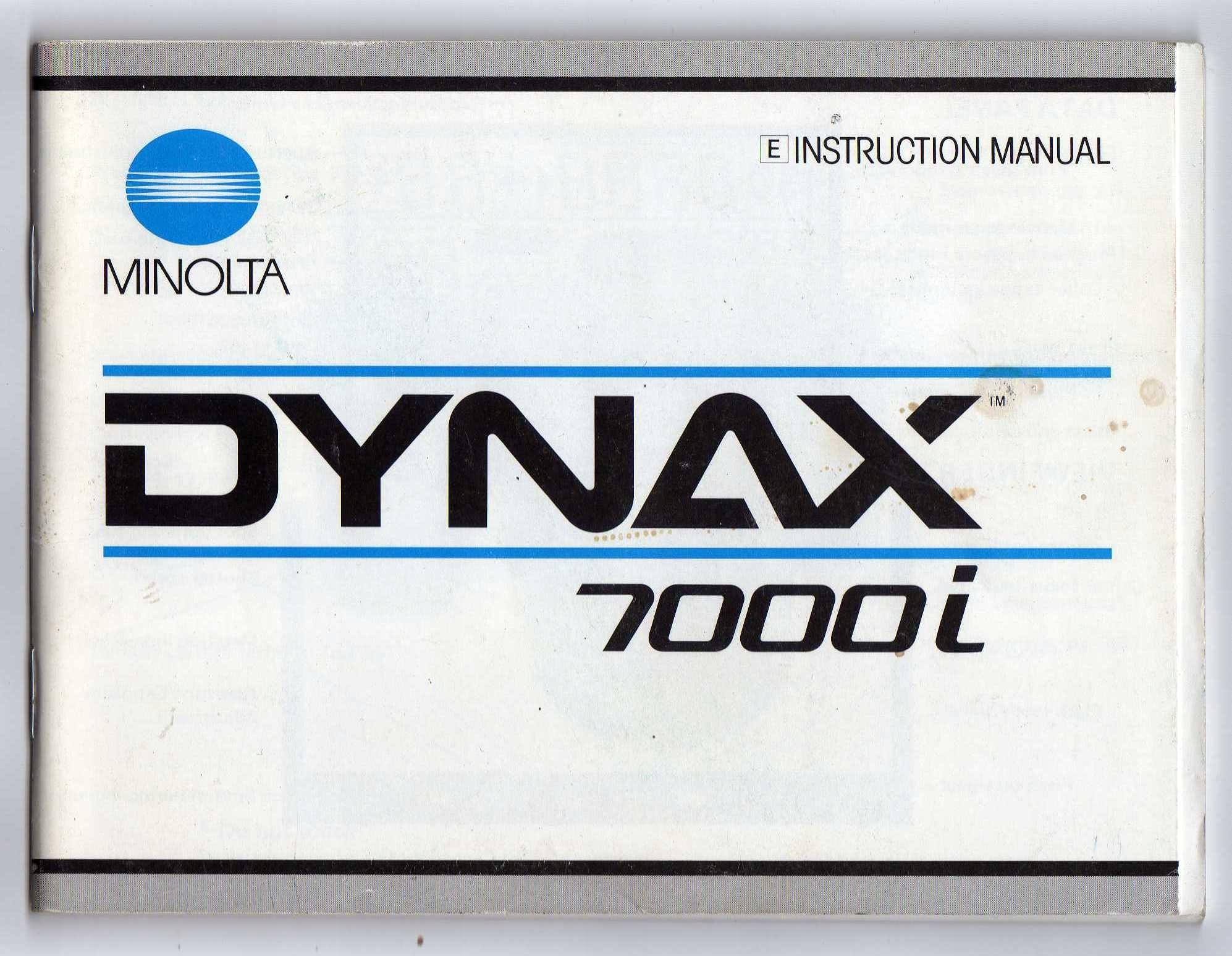 Item MINOLTA DYNAX 7000 and instruction MANUAL