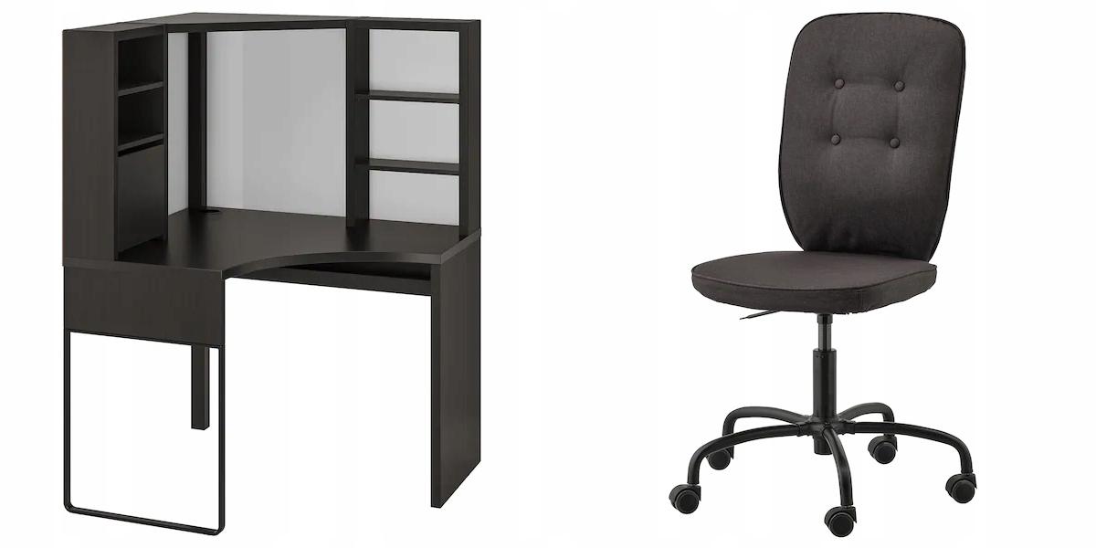 IKEA MICKE Stôl + Stoličky čierna LILLHOJDEN