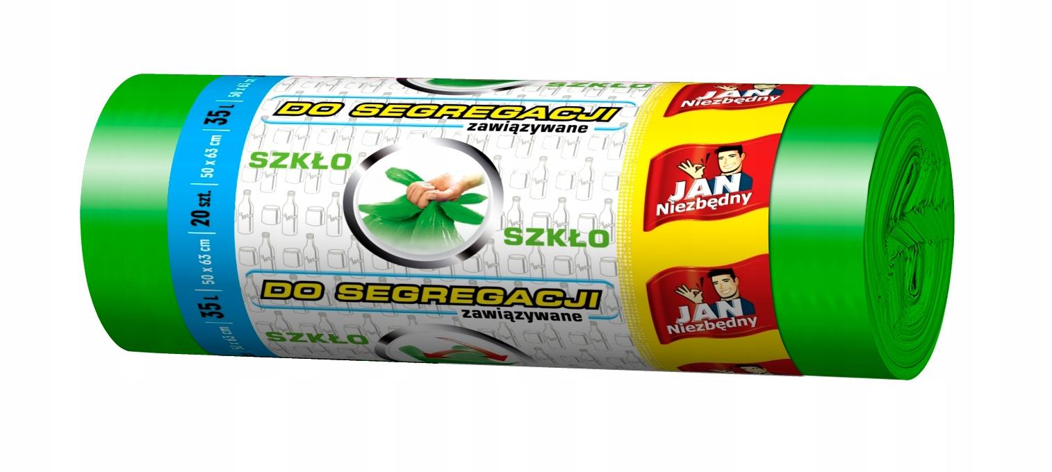 Worki do segregacji szkło 35l 20szt zielone