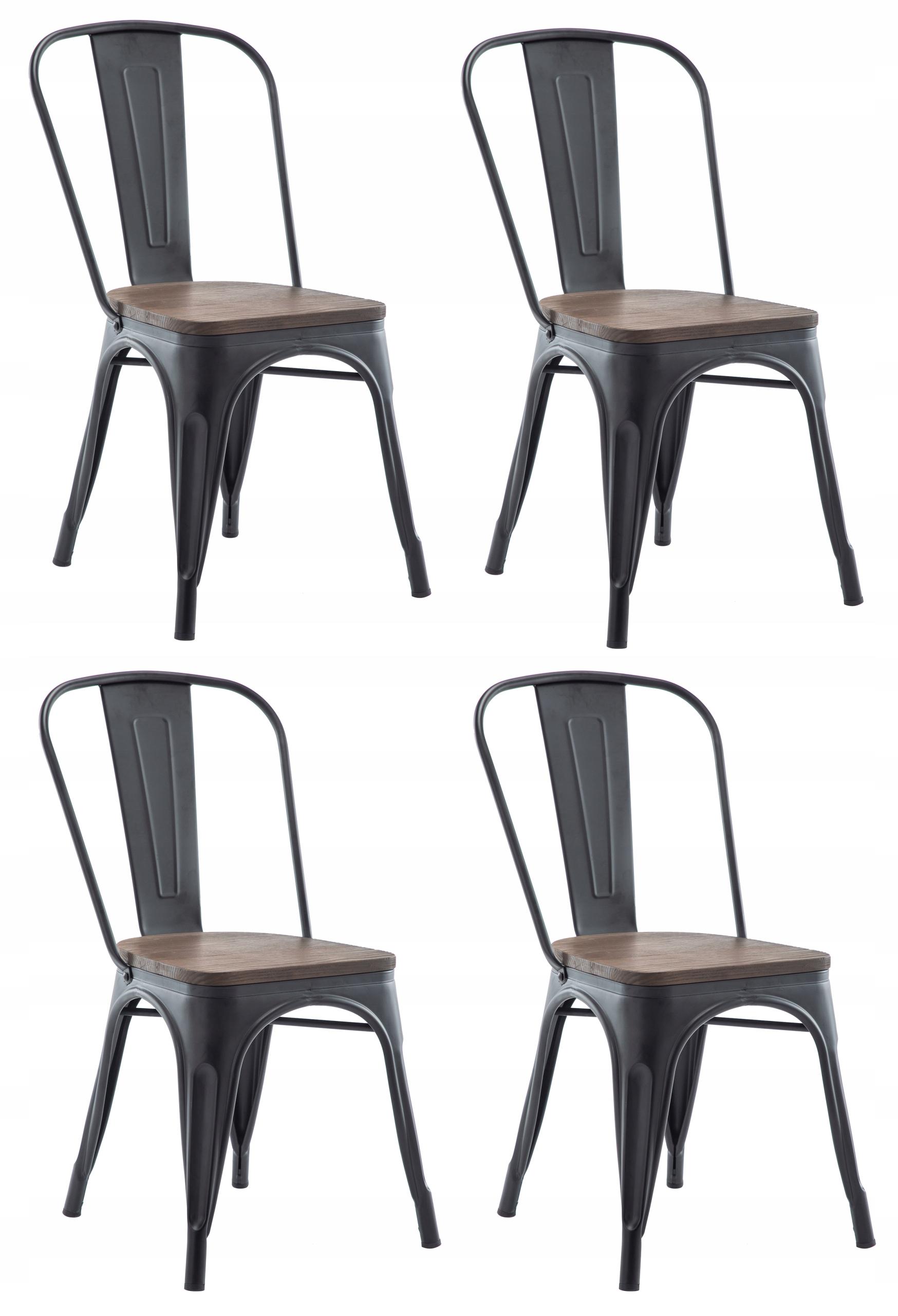 4x kovové stoličky sedadlá dreva moderný loft