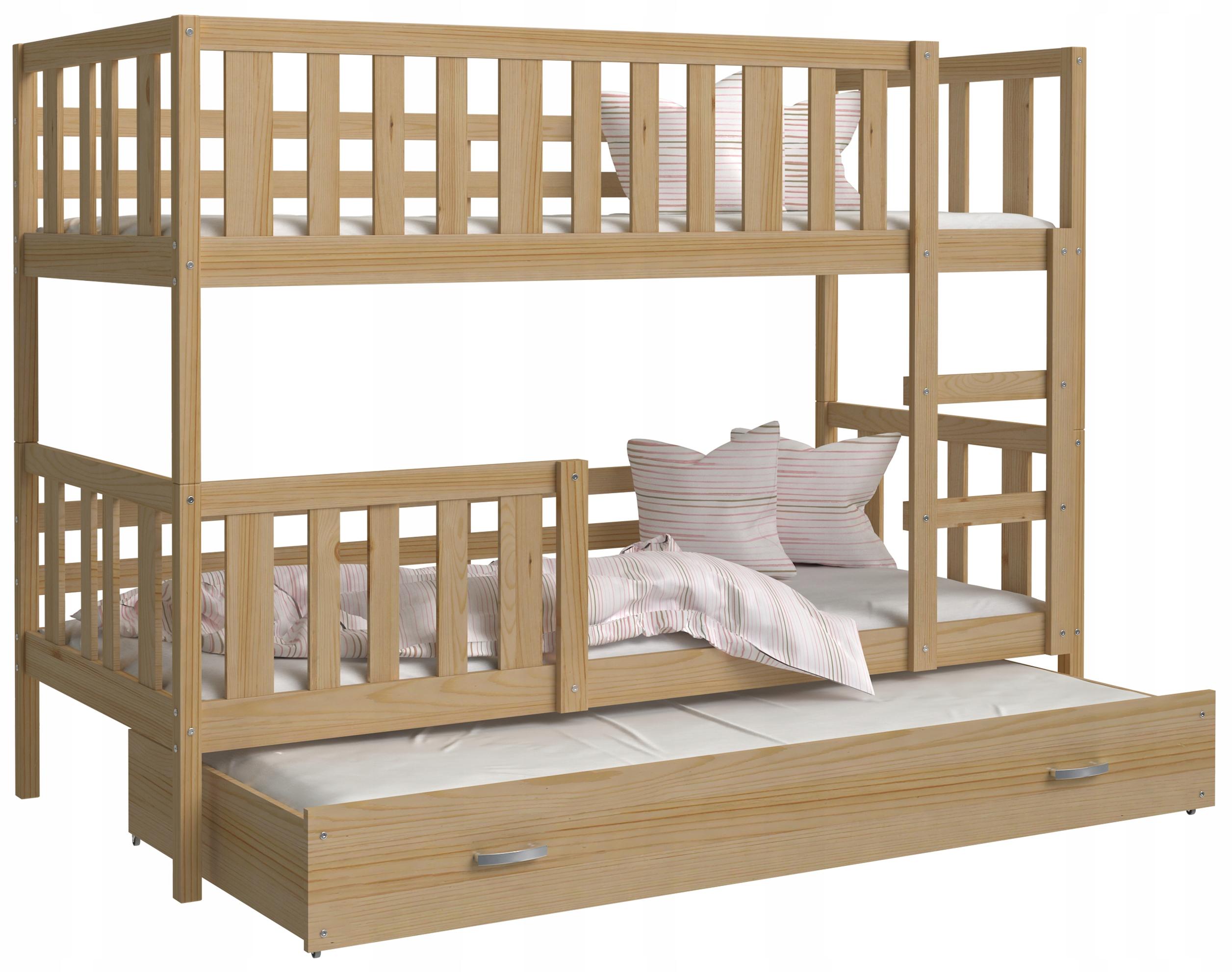 Łóżko piętrowe NEMO 3 osobowe drewniane i materace