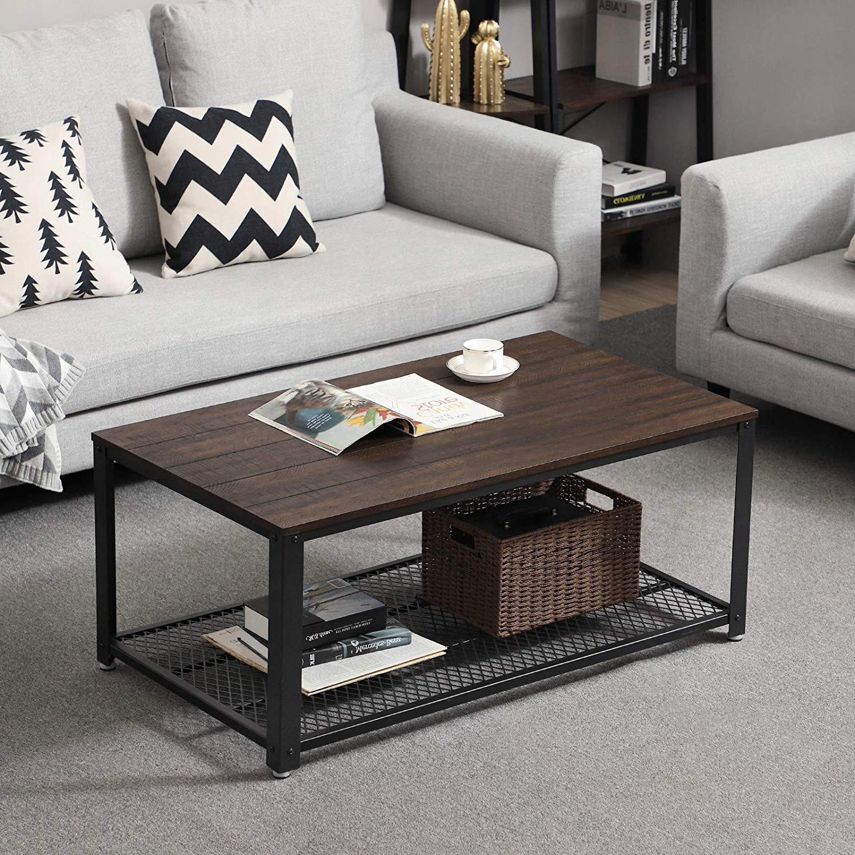 Konferenčný stolík písací Stôl stôl metal + drevo polica VINTAGE