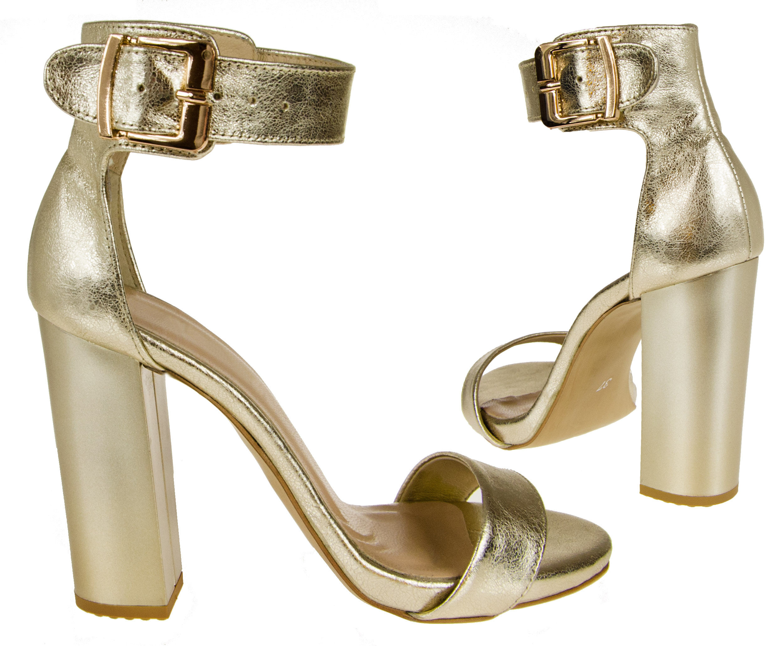 Locci E661 Szpilki Sandały Słupek Skóra Złoty