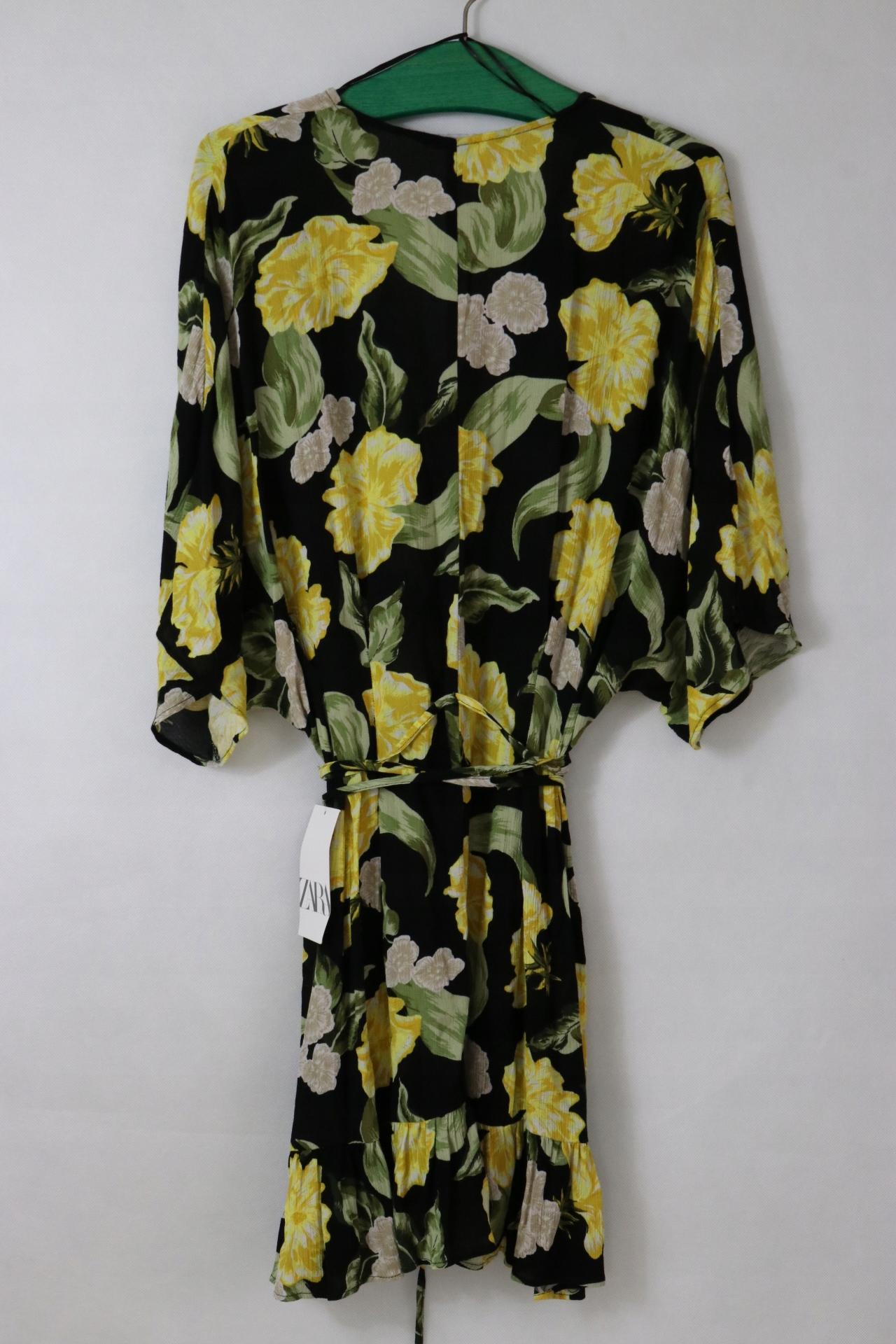 Zara czarna sukienka w żółte kwiaty wiązana L 8337412955