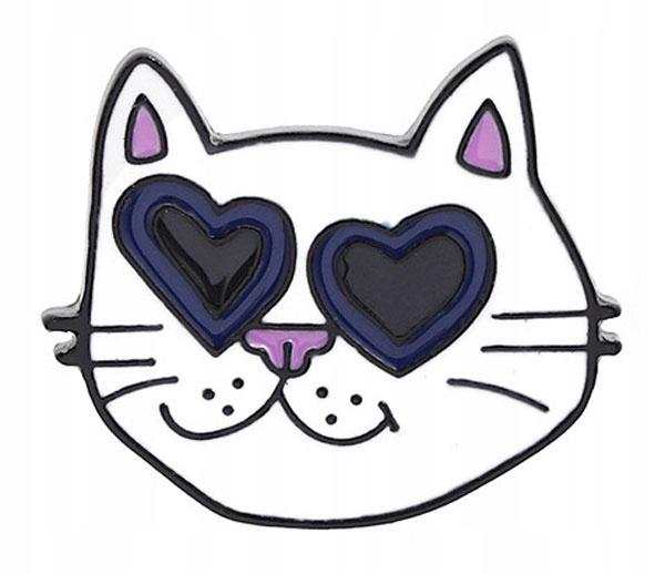 Pins przypinka Kot głowa kotka z sercami