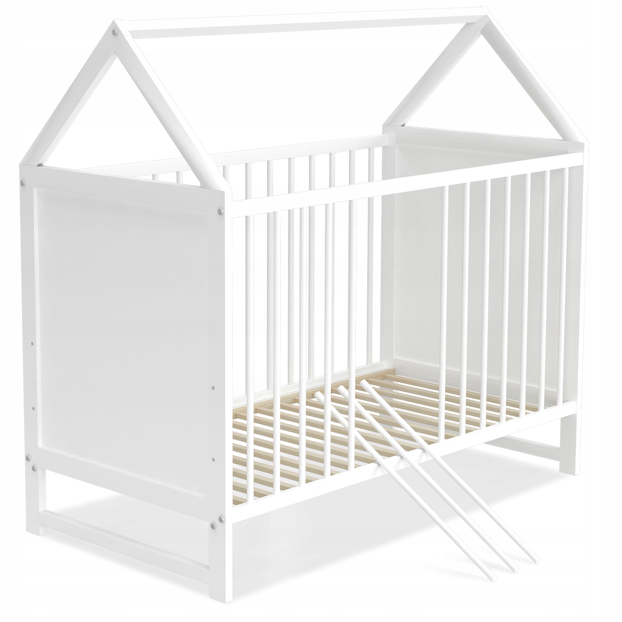 Łóżeczko domek 60x120 cm ANIA białe z materacem Szerokość 60 cm