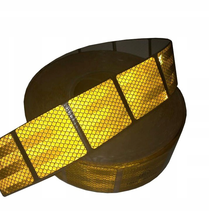 Лента Светоотражающая желтая квадраты 5х5 см, 1 метр