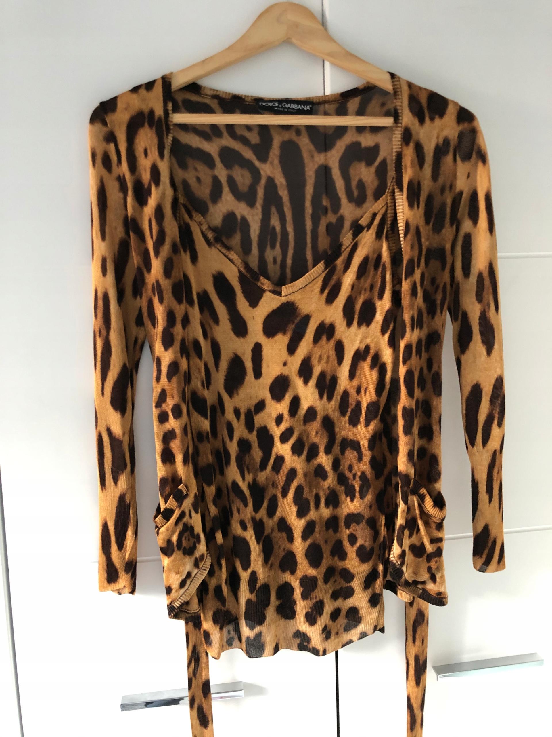 Dolce&Gabbana leopard sweater z bluzeczka 2w1