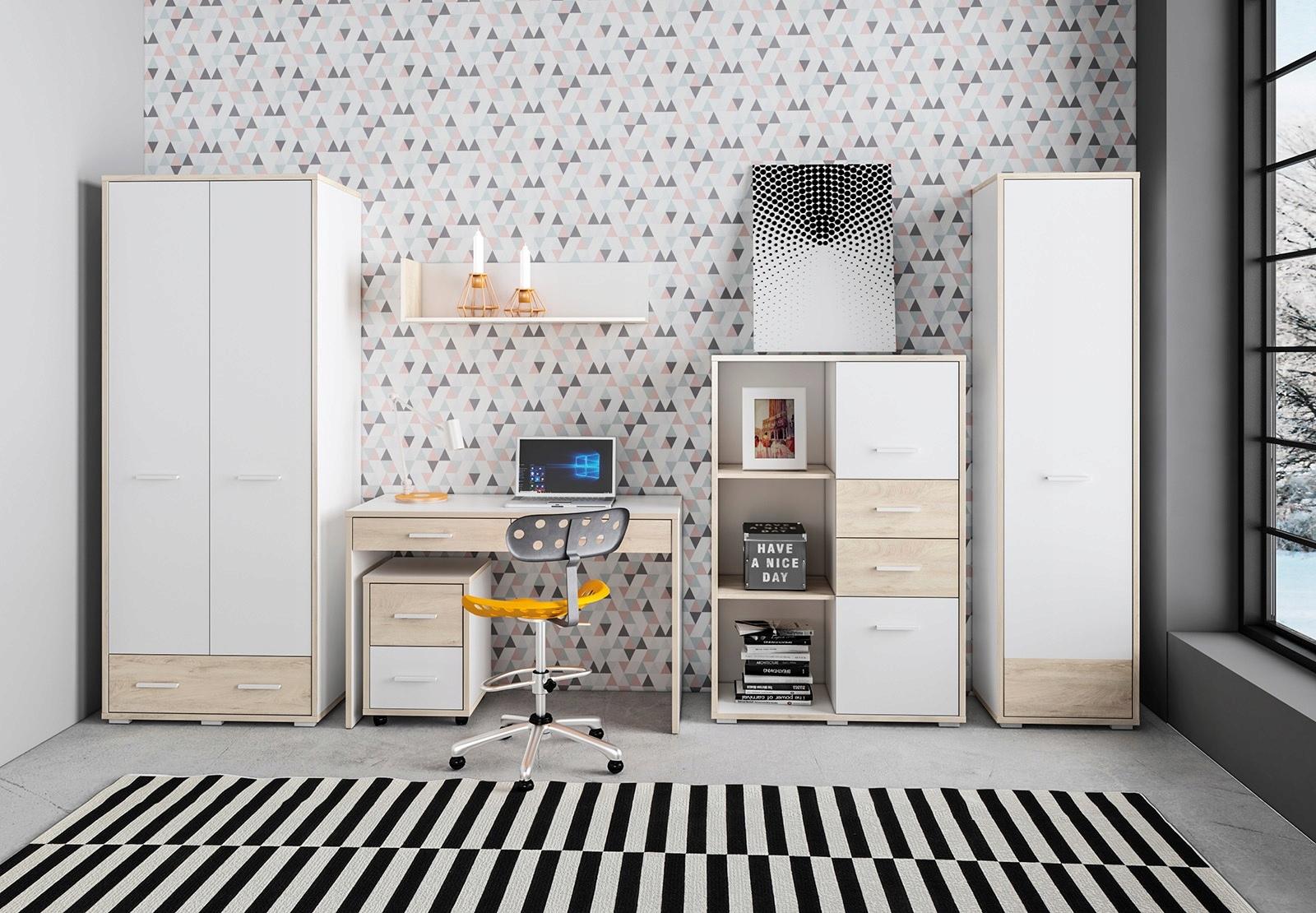 24 MDD24 nábytok KUBU 1młodzieżowe biely dub