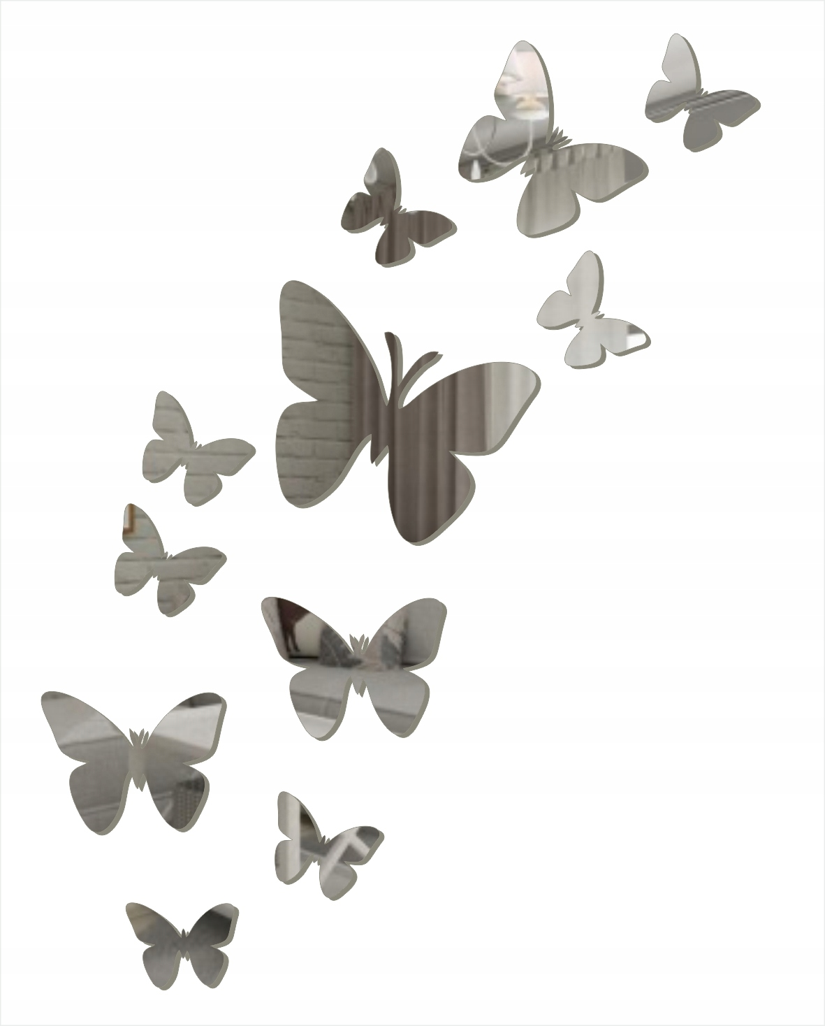 Декоративное зеркало на стене. Бабочки.
