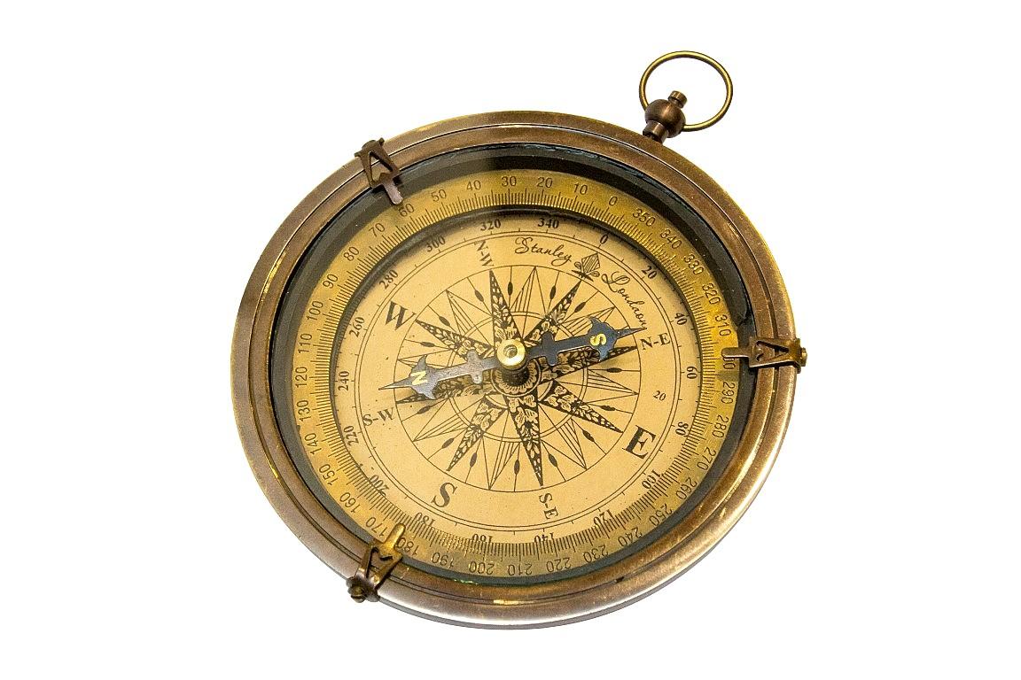 Mosadzný kompas - starožitné dokončiť