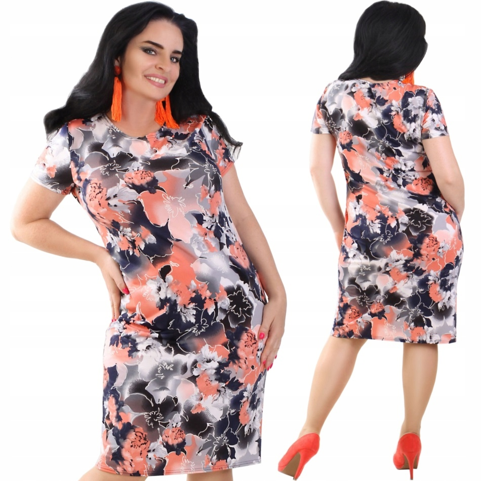P47 Zwiewna sukienka na lato w Kwiaty R44