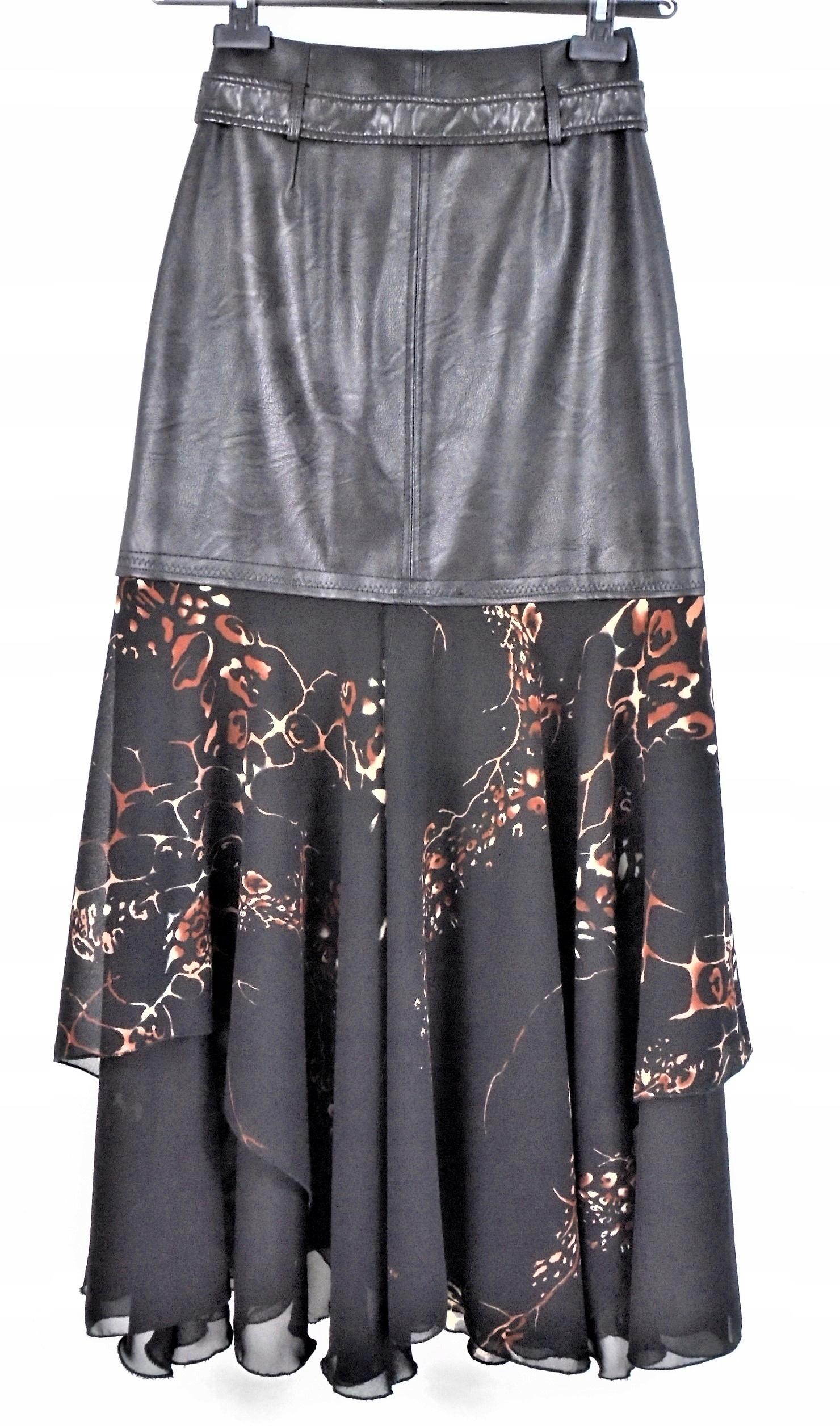 Długa spódnica eko-skóra tiul żorżeta sztruks R 36